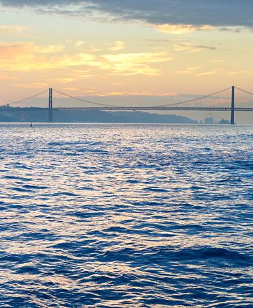 25: Lisbon bay with famous 25 April bridge. Portugal Stock Photo