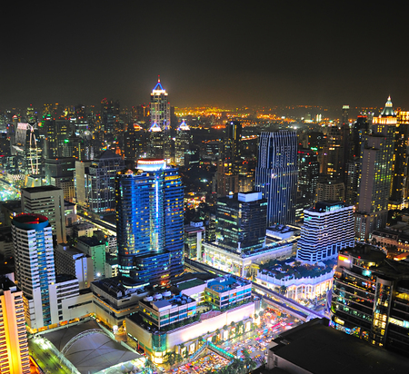 tall buildings: Aerail view of Bangkok downtown at night. Thailand