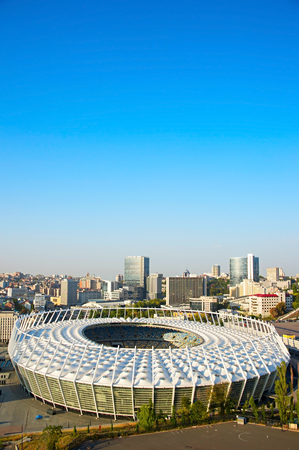 deportes olimpicos: El Complejo Deportivo Ol�mpico Nacional al atardecer en Kiev, Ucrania Editorial