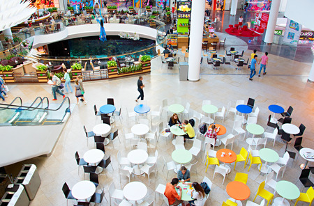 mall: KYIV, UKRAINE - SEPT 22, 2015: People at Ocean Plaza shopping mall in Kyiv. Ocean Plaza is the second largest shopping mall and entertainment complex of Kyiv. Editorial