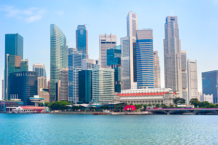 Singapore Downtown Core. View from the other river bank