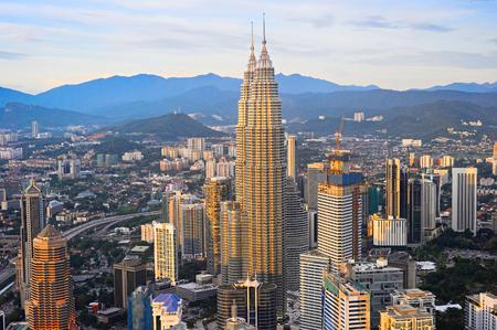 malaysia city: Aerial view of Kuala Lumpur Downtown at sunset. Malaysia