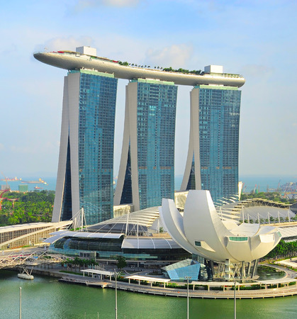 standalone: SINGAPORE - MAY 05, 2013: Marina Bay Sands Resort in Singapore. It is billed as the worlds most expensive standalone casino property at S$8 billion
