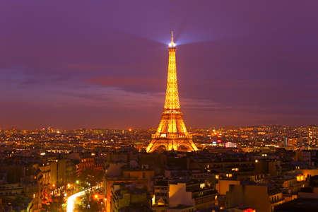 most: PARIS, FRANCE - JAN 18, 2015: Eiffel Tower Light Performance Show at night. The Eiffel tower is the most visited monument of France.
