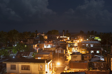 squatter: Top view on slums at night in Legaspi city, Philippines