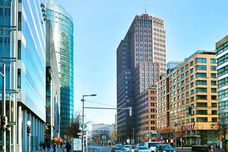 platz: BERLIN, GERMANY - NOV 15, 2014:  Potsdamer Platz - important public square in the centre of Berlin. Since German reunification, Potsdamer Platz has been the site of major redevelopment projects.