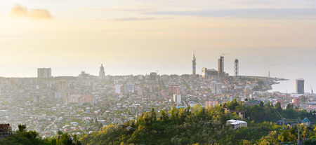 seaview: Skyline of Batumi city from viewpoint at sunset. Georgia Stock Photo