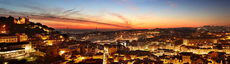 city landscape: Aerial panoramic view of Lisbon at beautiful twilight. Portugal