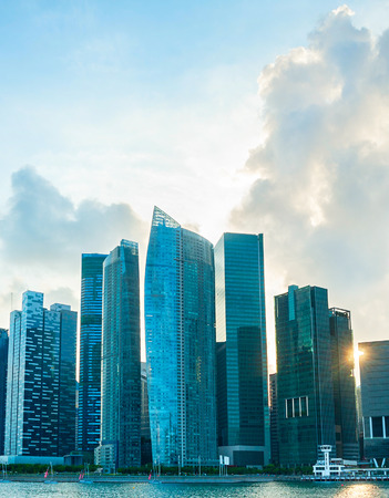 corporate travel: Modern Downtown of Singapore in the sunset Editorial