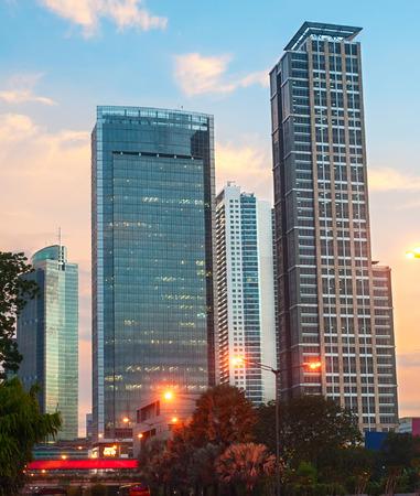 sunset city: Jakarta city center at beautiful sunset. Jawa island, Indonesia