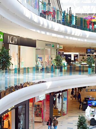 retail shopping: KIEV, UKRAINE - MARCH 04, 2015: People at Skymall shopping mall. Skymall is one of largest shopping mall in Ukraine. Consists of 83,700 m² of retail space.