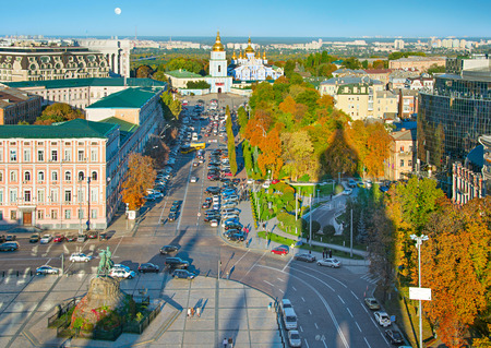 Top view of Kiev Old Town with Bohdan Khmelnytsky monument and St. Michaels Golden-Domed Monastery Reklamní fotografie