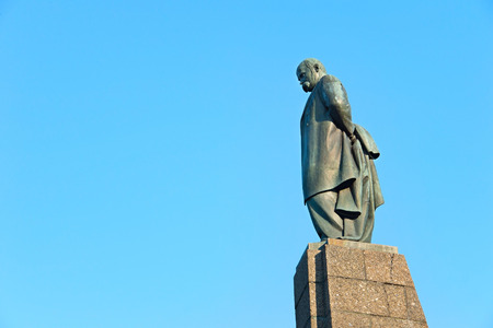 national poet: Taras Shevchenko monument in Kaniv, Ukraine. Taras Shevchenko was a Ukrainian poet, writer, artist, public and political figure.