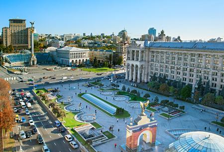 maidan: View from above of Independence Square (Maidan Nezalezhnosti) in Kiev, Ukraine