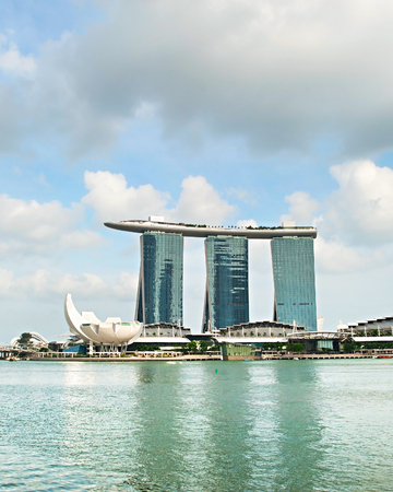 standalone: SINGAPORE - MAY 03, 2013 : Marina Bay Sands Resort in Singapore. It is billed as the worlds most expensive standalone casino property at S$8 billion