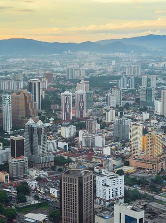 bird eye view: View from above on Kuala Lumpur at sunset. Malaysia