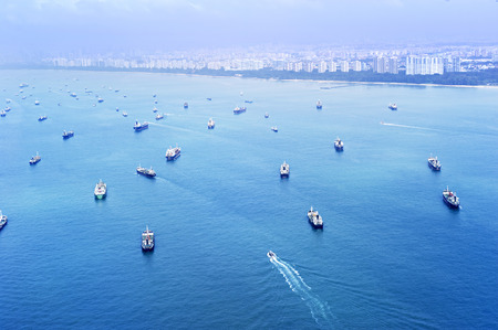 Aeril view of the cargo ships in Singapore harbor Stock Photo