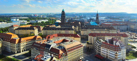 center city: Aerial view of Dresden city center at sunset. Germany Stock Photo