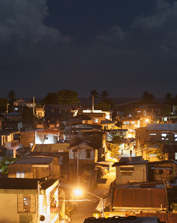 squatter: Overview of slums at full moon night in Legaspi city, Philippines