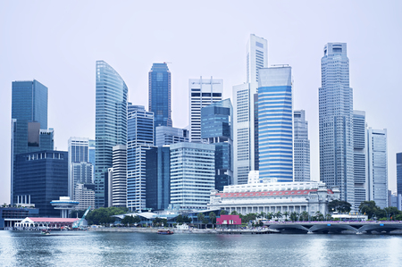 districts: Futuristic Downtown Core of Singapore in blue color.