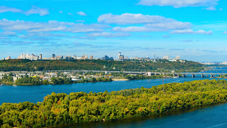 right bank: View of Kiev, Ukraine. Right bank of the Dnieper river