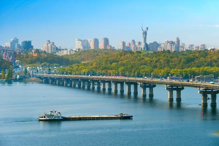 kyiv: Skyline of Kiev with Dnipro river, Paton bridge and Mother Motherland monument. Ukraine Stock Photo