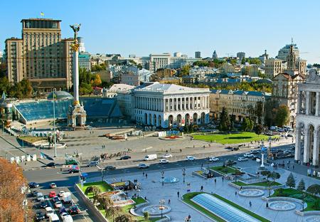 Berühmte Platz der Unabhängigkeit (Maidan Nezalezhnosti) in Kiew, Ukraine
