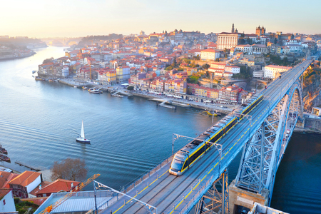 luis: Skyline of Porto with famous Dom Luis bridge. Portugal Stock Photo