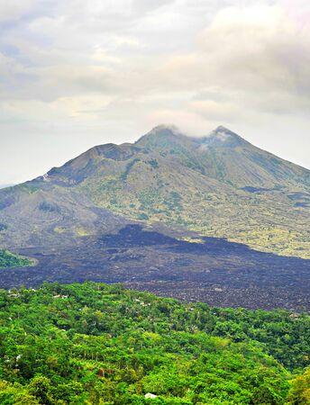 moody sky: Volcano Batur with moody sky. Bali island. Indonesia Stock Photo