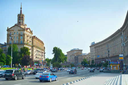 maidan: KIEV, UKRAINE - JUN 17, 2016: Traffic on a road in city center of Kiev. Kiev is the capital of Ukraine.