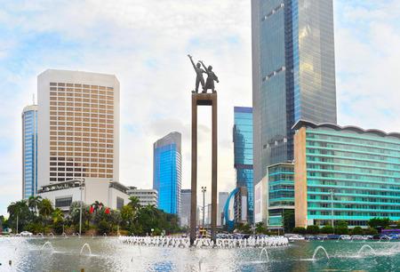 자카르타 다운타운에 환영 동상 - 인도네시아의 수도 스톡 콘텐츠