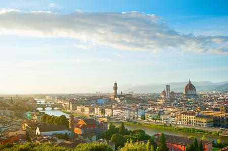 santa maria del fiore: Cityscape of Florence with Ponte Vecchio, Palazzo Vecchio and Cathedral of Santa Maria del Fiore (Duomo)
