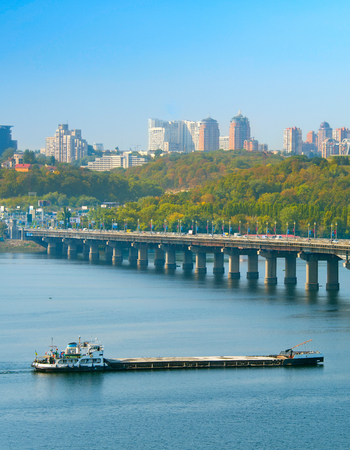 Barge on a Dnipro river in Kiev, Ukraine Stock Photo