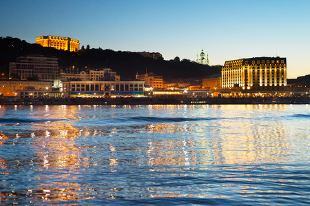 Skyline of Kiev with reflection in the river. Ukraine Stock Photo