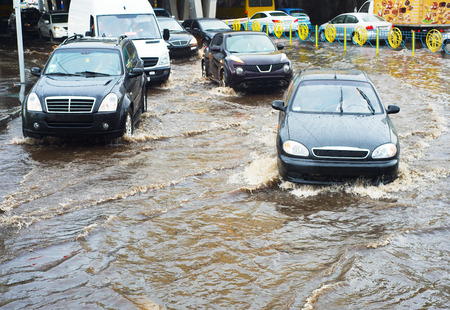 disaster: Car traffic problem in a heavy rain