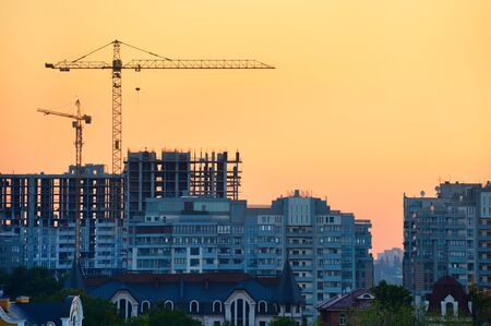 View of Construction site in the colorful sunset