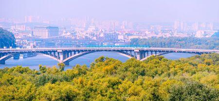 Subway train on Metro bridge in Kiev, Ukraine Stock Photo