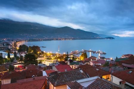 beautiful sky: Skyline of Ohrid at twilight with beautiful sky. Macedonia