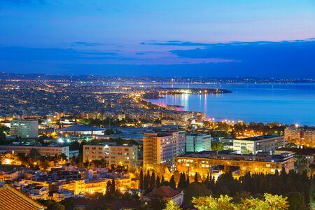 Skyline of Thessaloniki at dusk. Greece