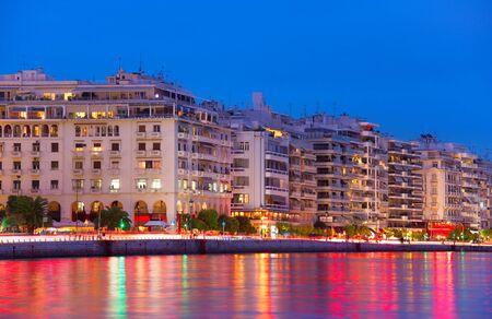 Skyline of Thessaloniki quayside at dusk. Greece