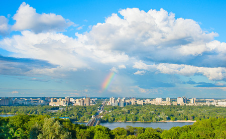 View of Kiev with rainbow in the sky. Ukraine