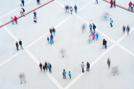 Aerial view of crowd. Long exposure. Motion blur