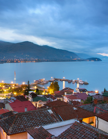 View Ohrid at colorful twilight. Macedonia