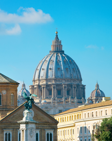 basillica: View of Rome with cupola of St. Peter Basilica in the Vatican Stock Photo