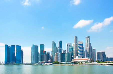 View of Singapore Downtown Core in a bright sunny day