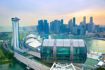 Skyline of Singapore, view from top of Singapore Editorial