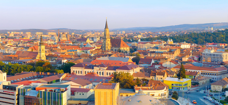 Panorama of Cluj-Napoca city at sunset. Romania