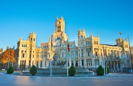 plaza de la cibeles: Madrid Cybeles Square (Plaza de la Cibeles) and Madrid Central Post Office (Palacio de Comunicaciones) in Madrid, Spain.