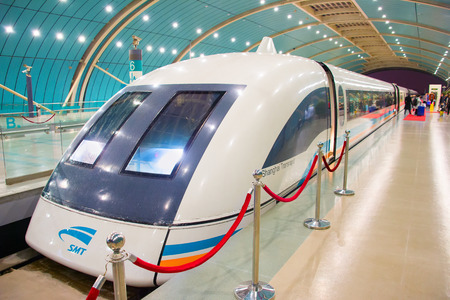 SHANGHAI, CHINA - DEC 26, 2016: Shanghai Maglev Train -Shanghai Transrapid. The line is the first commercially operated high-speed magnetic levitation line in the world