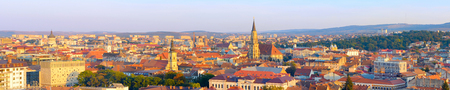 Panoramic view of Cluj-Napoca at sunset. Romania